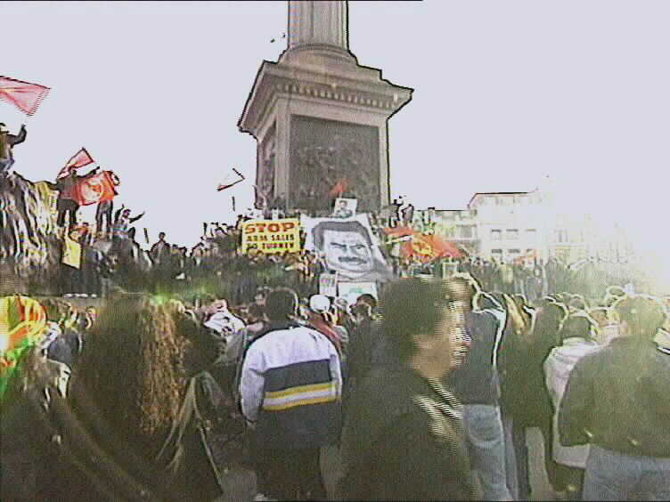The protest of the Kurds against the kidnapping of the leaser Abdullah Ocalan,Trafalgar Square-London 20/2/1999